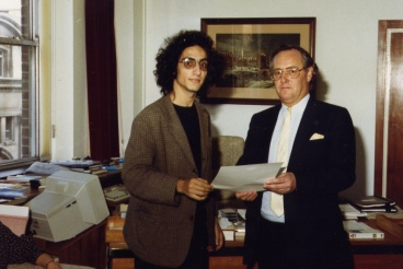 Toni Sant receiving a certificate from David Hatch at the end of a BBC Radio Training course in 1988