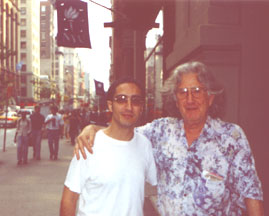 Toni Sant with Augusto Boal outside NYU - August 1999